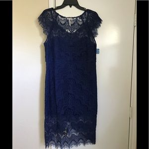 Navy Free People lace high low dress, SZ L.